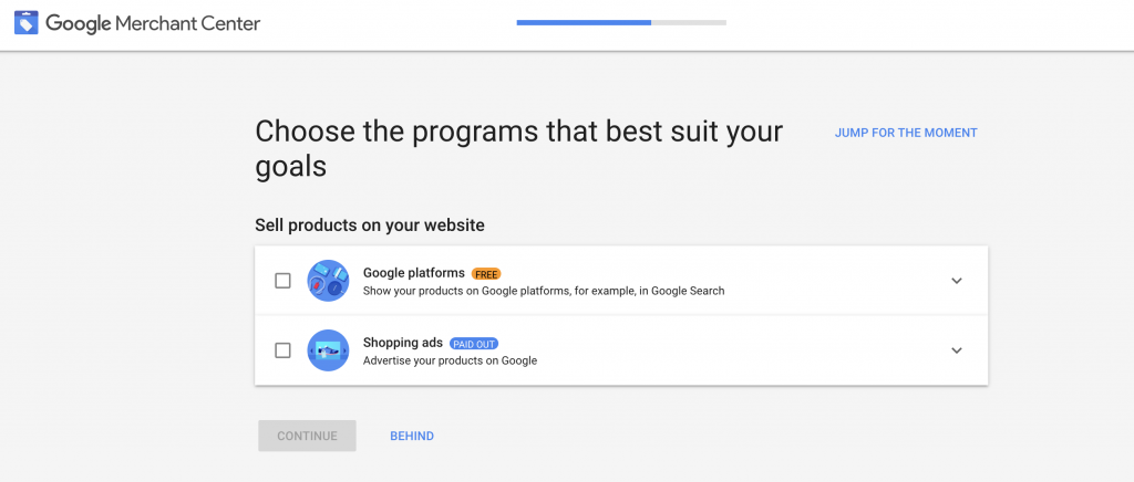 Select the programs you want to use in the Google Merchant Center