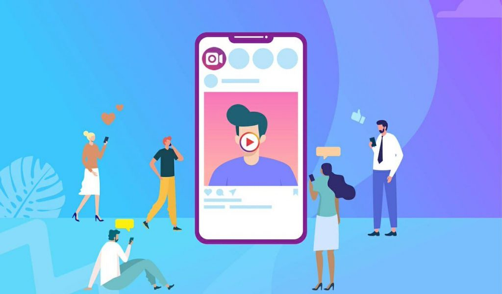 ocial media marketing vector concept illustration, happy woman and men give like comment on Instagram,