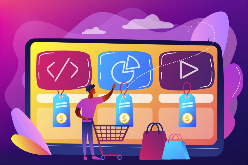 Customer with shopping cart buying digital service online. Digital service marketplace, ready digital solution, online marketplace framework concept.