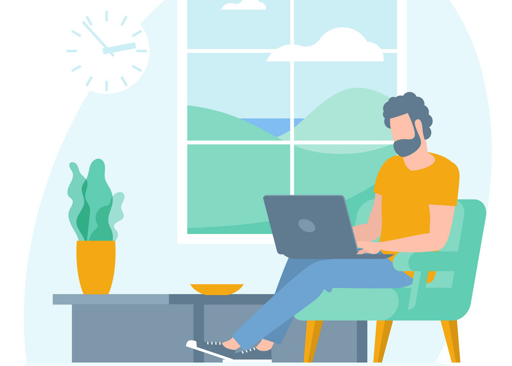 The best place for remote work. Young man is working outsourced sitting on the couch. lat design vector illustration, ready to animation vector concept for web site