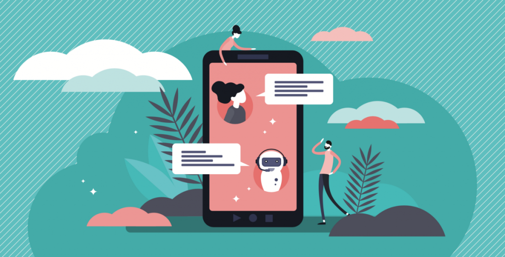 Chatbot vector illustration. Flat tiny virtual smartphone conversation persons concept. AI robot assistant for user correspondence. Simulated question or answer service.