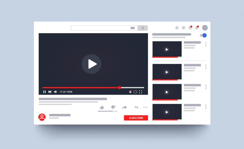 Template video frame. Youtube video player layout. Video content mockup. Social media content. Social media concept.