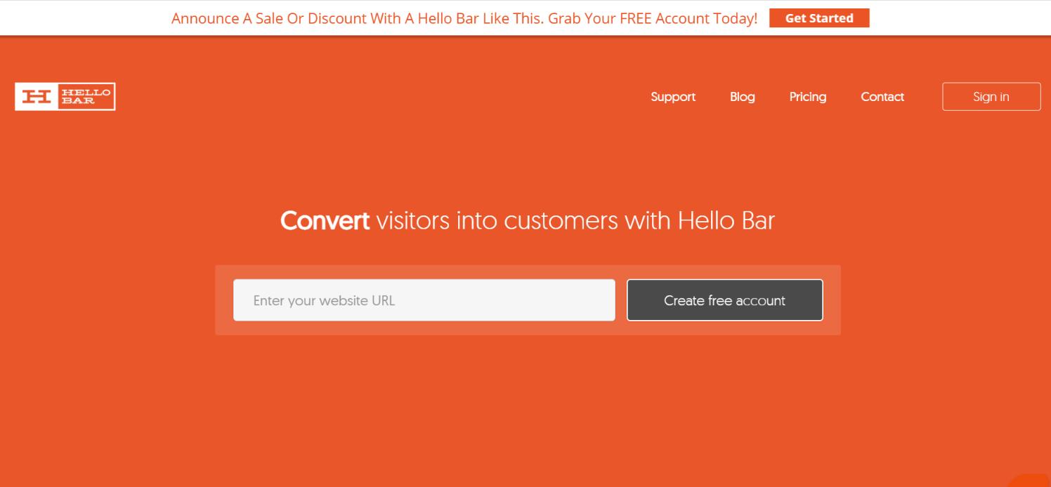 Hellobar popup service homepage